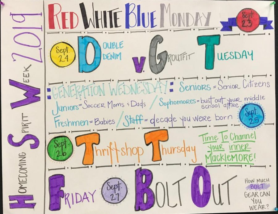 Poster+in+the+Liberty+High+commons+about+their+Homecoming+week+spirit+days.