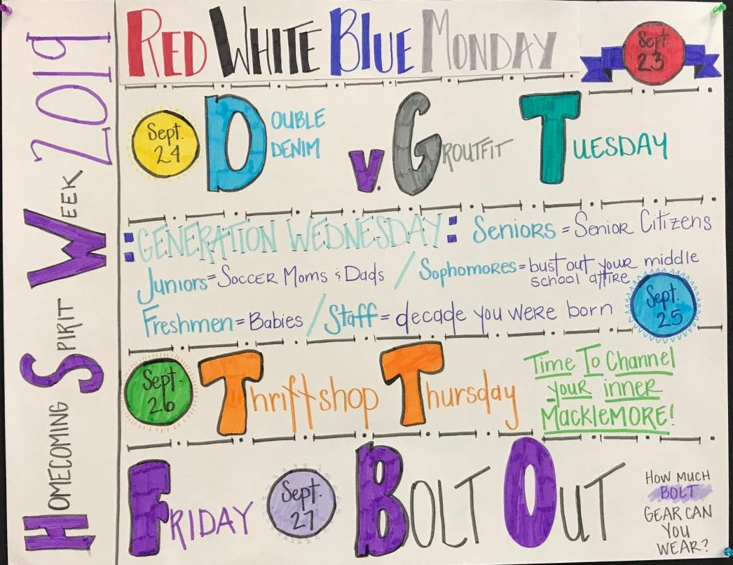 Poster in the Liberty High commons about their Homecoming week spirit days.