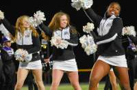 Varsity dance cheers on the Bolts during a halftime performance on October 25th.