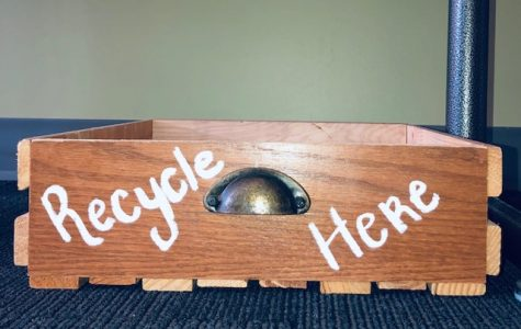The recycling bin encouraging students to recycle in classroom.