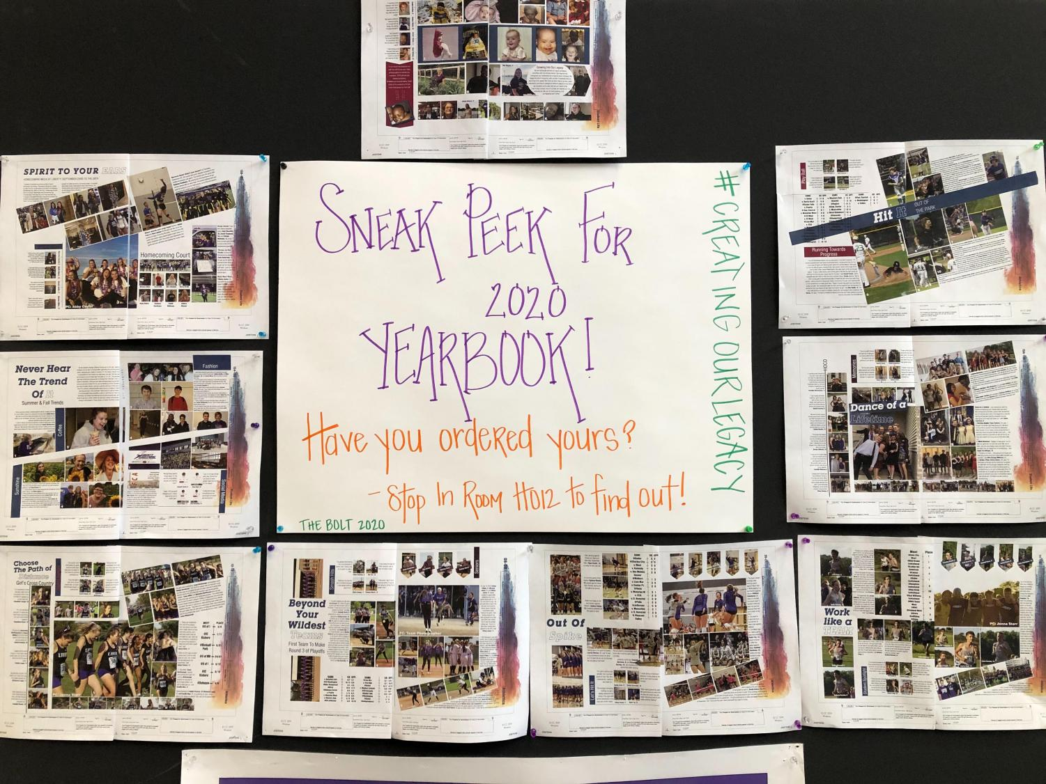 This preview board sits in the academic commons, it shows a couple of different spreads that will be featured in the upcoming 2019-2020 yearbook.