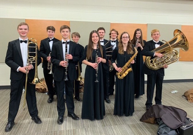 The ten Liberty students accepted into the SEIBA Honor Band.