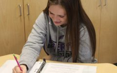 Sophomore, Kinsley Robertson, studying during Liberty Time