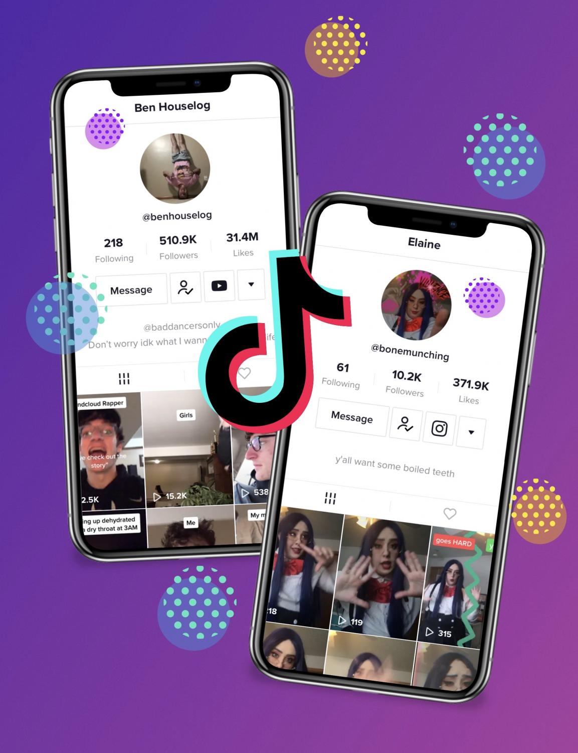 Ben Houselog and Elaine Brustkern's TikTok accounts are featured in this infographic.
