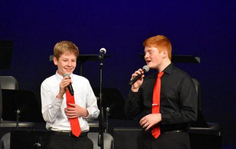 Owen Abel, freshman, and Nate Petersen, junior, perform in Spark.