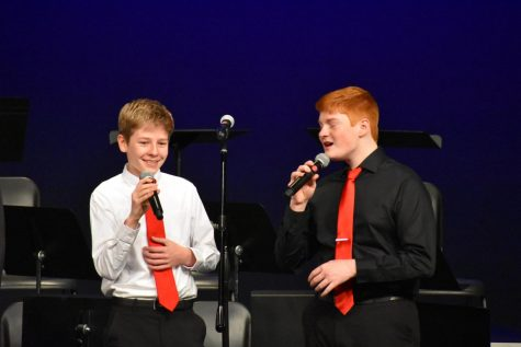 Owen Abel, freshman, and Nate Petersen, junior, perform in Spark.