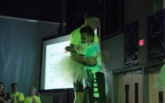 During the 2020 Dance Marathon, Kaleb Williams hugs his cousin, Aidan, who has leukemia.