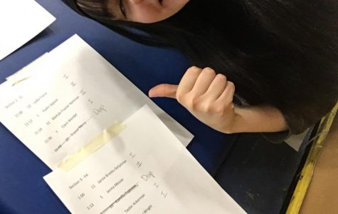Jamie Brooks, senior, poses with her posted D1 rating. Brooks performed Greta Thunberg's U.N. Climate Action Summit speech for the category public address.