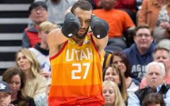 Utah Jazz, center, Rudy Gobert in a regular season home game.