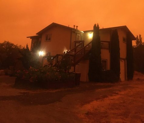 John Anderson, resident of California, snapped a picture of his house during the wildfires.