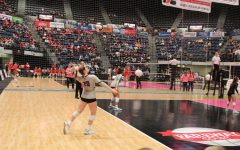 Hailey Hested, senior, serves a ball at the state tournament last season.