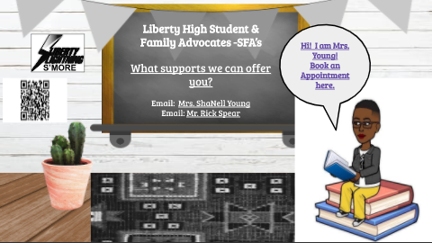 Students can set up appointments with ShaNell Young through the counseling page on Liberty