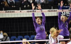 Photo Courtesy of ICCSD   Lilah Vanscoyoc, junior, at 2020 state volleyball. The girls were runner-ups to Ankeny.